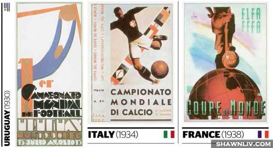 Official FiFa World Cup Posters Art from 1930 to 1938