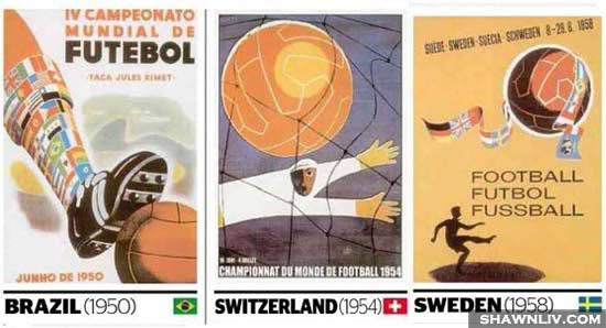 Official FiFa World Cup Posters Art from 1950 to 1958