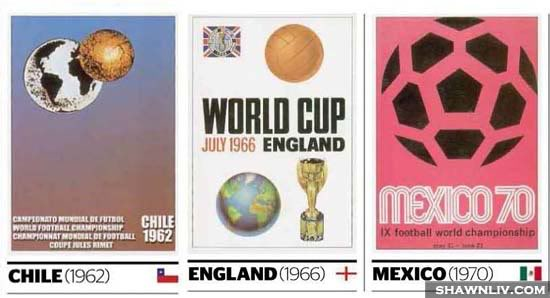 Official FiFa World Cup Posters Art from 1962 to 1970