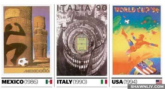 Official FiFa World Cup Posters Art from 1986 to 1994