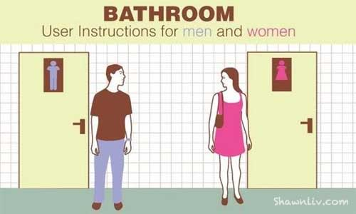 Women take longer time in the bathroom