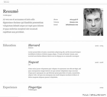 Free One Page Resume / Cv Templates Download | Shawnliv
