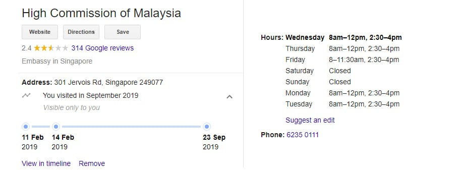 High Commission of Malaysia - Working Hours